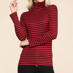 Doublju Women's Turtlenecks REDBLACKST - Red & Black Stripe Shirred Turtleneck - Women & Plus | Zulily