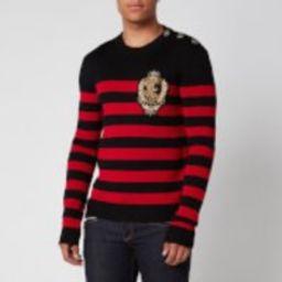 Balmain Men's Striped Wool Knit Badge Jumper - Black/Red - S | Coggles (Global)