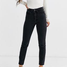 Vero Moda Petite high waist ankle grazer mom jean-Black | ASOS (Global)