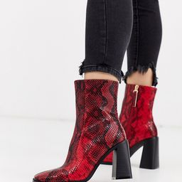 Co Wren wide fit block heeled boots in snake-Red | ASOS (Global)