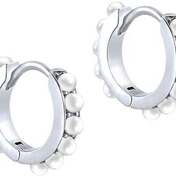 Fashion Pearl Small Huggie Hoop S925 Sterling Silver Cartilage Earrings for Women Teen Girls Mini...   Amazon (US)