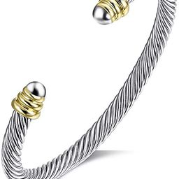Tiyad Cable Wire Cuff Bracelet Bangle Bracelets for Women Stainless Steel Twisted Cable Cuff | Amazon (US)