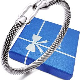 HX SHARE Twisted Cable Bracelet Stylish Fine Stainless Steel Cable Cuff Bracelet with Hook Clasp ... | Amazon (US)
