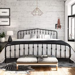 Novogratz Bushwick Metal Bed with Headboard and Footboard   Modern Design   King Size - Black   Amazon (US)