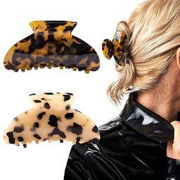 2PCS Hair Claw Banana Clips tortoise Barrettes Celluloid French Design Barrettes celluloid Leopar... | Amazon (US)