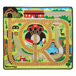 Melissa & Doug Round the Rails Train Rug With 3 Linking Wooden Train Cars (39 x 36 inches) | Target