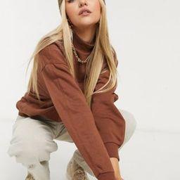Stradivarius organic cotton oversized sweatshirt in brown | ASOS (Global)