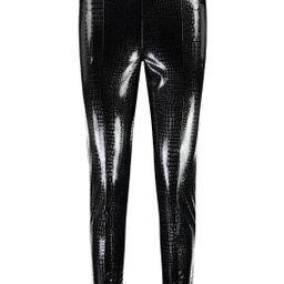 Croc Leather Look Pu Split Hem Leggings   Boohoo.com (US & CA)