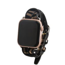 Black with Gold Plaid Apple Watch Strap on Silver | Victoria Emerson