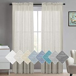Turquoize Natural Linen Blended Window Curtain Panels Semi Sheer Curtains 84 Inches Long - Rod Po... | Amazon (US)