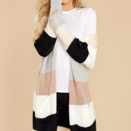 Frosted Skies Beige Stripe Cardigan | Red Dress