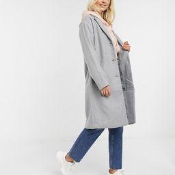 Pieces Alice wool blend coat in gray | ASOS (Global)