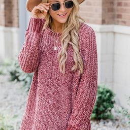 Faithful To My Heart Dark Mauve Sweater | The Pink Lily Boutique