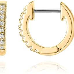 14K Gold Plated Cubic Zirconia Cuff Earrings Huggie Stud | Amazon (US)