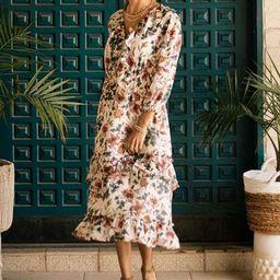 Floral Ruffle Detail Midi Dress - FINAL SALE | Bohme