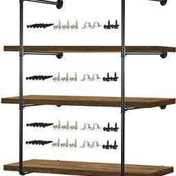 "Pipe Shelves – 2 PCS (43"" Tall) Industrial Pipe Shelving – Pipe Shelf Bracket for Wood Floa...   Amazon (US)"