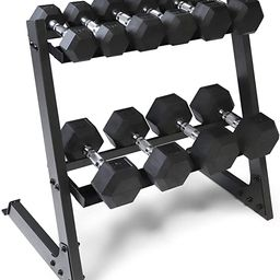 WF Athletic Supply Rubber Coated Hex Dumbbell Set Non-Slip Hex Shape for Muscle Toning, Strength ...   Amazon (US)