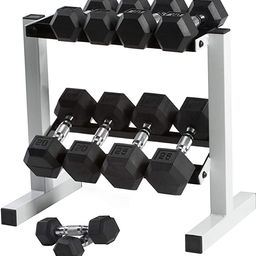 CAP Barbell Rubber Coated Dumbbell Set with Storage Rack   Amazon (US)