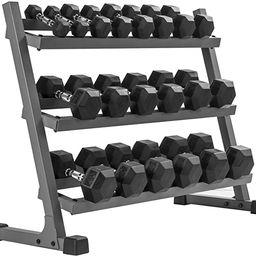 XMark 550 lb. Dumbbell Set and Heavy Duty Rack, 5 to 50 lb Set of Hex Dumbbells, Dumbbells and Du...   Amazon (US)
