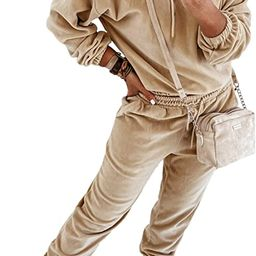 Women's Velour 2 Piece Jogger Sets Hoodies Sweatshirt Long Sweatpants Outfits Sweatsuit   Amazon (US)
