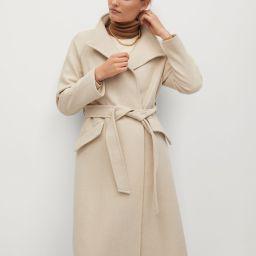 Woolen coat with belt | MANGO (US)