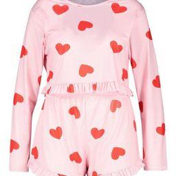 Plus All Over Heart Frill PJ Set   Boohoo.com (US & CA)