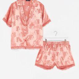 Lights Out Plus Jacquard Shirt and Short Pajama Set   NastyGal (US & CA)