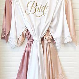 Bride Robe - Bridesmaid Robes - Bridal Robe - Silk Satin & Lace Robe - 10% off BULK ORDERS | Etsy (US)