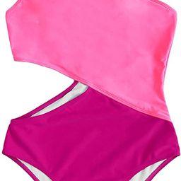 SweatyRocks Women's Bathing Suits One Shoulder Cutout One Piece Swimsuit Swimwear Monokini | Amazon (US)