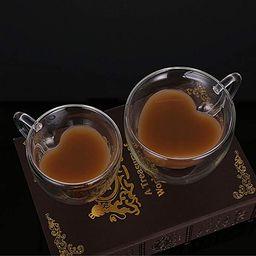 2 Pcs/Set Heart Shaped Double Wall Glass Milk Lemon Juice Cup Tea Mug Lover Coffee Cups Drinkware...   Amazon (CA)