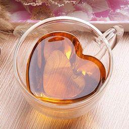 Heart Shaped Double Walled Insulated Glass Coffee Mugs or Tea Cups, Double Wall Glass 8 oz - Clea...   Amazon (CA)