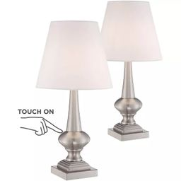 """360 Lighting Modern Table Lamps 19"""" High Set of 2 Touch On Off Brushed Nickel White Empire Shade ...   Target"""