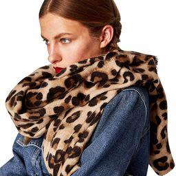 Leopard Printed Scarf Women Blanket Scarf Warm Pashmina Scarfs   Amazon (US)