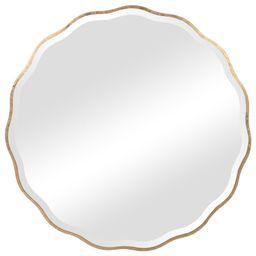"Uttermost 09611 Aneta 42"" Round Scalloped Edge Elegant Large Wall Mirror Aged Gold Home Decor Mirror   Build.com, Inc."