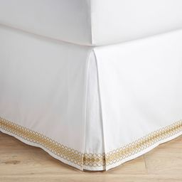 Lilly Pulitzer Organic Embroidered Trim Bed Skirt, Twin, Gold | Pottery Barn Teen