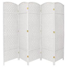 6 ft. Tall Diamond Weave Fiber Room Divider - White (5 Panels) | Target