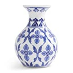 K&K Interiors 16218A-2 6 Inch W Floral Cross Porcelain Bud Vase, White and Blue | Amazon (US)
