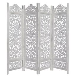 Lotus Carved 4-Panel Room Divider Screen in White | Bed Bath & Beyond