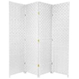 Oriental Furniture 6 ft. Tall Woven-Fiber-Outdoor All Weather-Room-Divider - 4-Panel - White | Amazon (US)