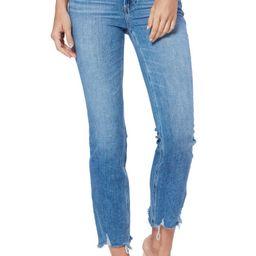 Cindy High Waist Destroyed Hem Straight Leg Jeans | Nordstrom