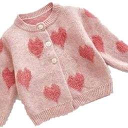 Toddler Baby Girls Winter Coat Pompom Button Knit Sweater Cardigan Kids Long Sleeve Warm Jacket O... | Amazon (US)