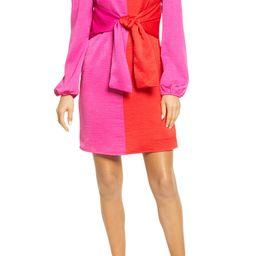 Colorblock Tie Waist Long Sleeve Dress   Nordstrom