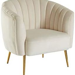 Benjara Benzara Fabric Upholstered Living Room Chair with Metal Legs, Ivory and Gold   Amazon (US)
