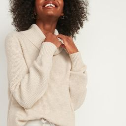 Textured Waffle-Knit Cowl-Neck Sweater for Women | Old Navy (US)