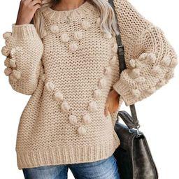 Saodimallsu Womens Oversized Chunky Sweaters Batwing Long Sleeve Crew Neck Dot Heart Cute Loose K... | Amazon (US)