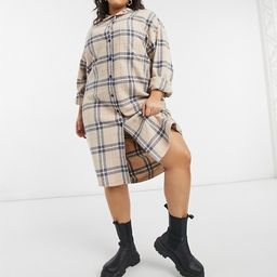 COLLUSION Plus Exclusive longline overshirt in check   ASOS (Global)