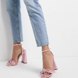 ASOS DESIGN Nella high-heeled sandals with crystal bow in pink | ASOS (Global)