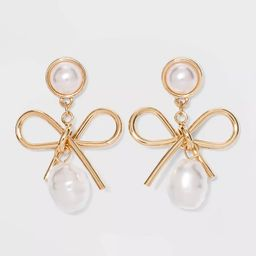 SUGARFIX by BaubleBar Gold Bow Drop Earrings with Pearl - Gold | Target