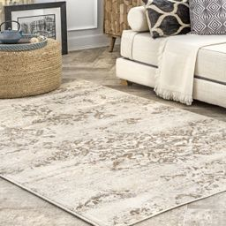 Beige Withered Floral Area Rug | Rugs USA