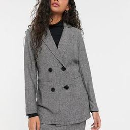 Parisian Petite tailored longline double breasted blazer in gray | ASOS (Global)